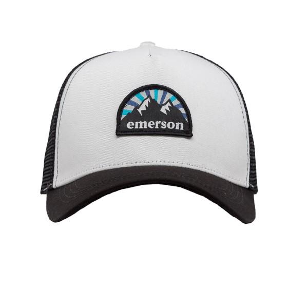 Emerson Mountain Logo Trucker Cap  Black - White