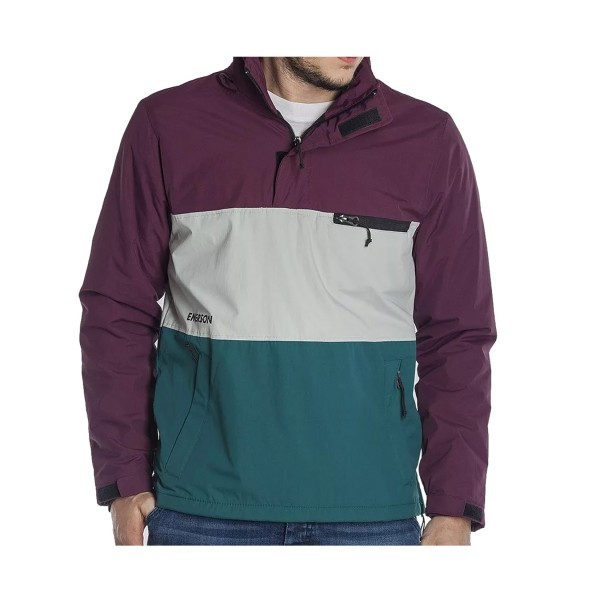 Emerson Pull-Over Hooded Jacket Peacock -Ice - Wine
