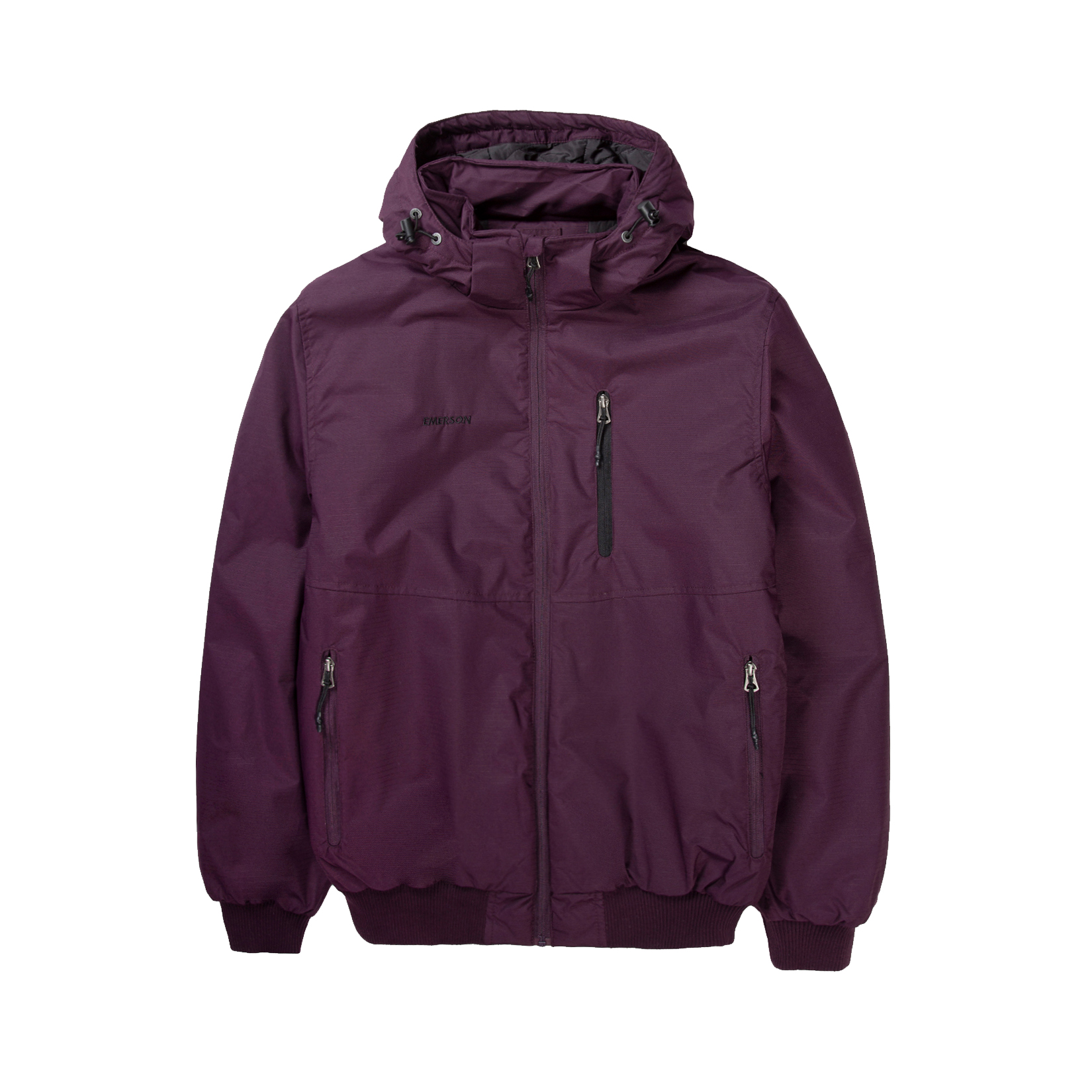 Emerson Ribbed Hooded Jacket DRP Wine