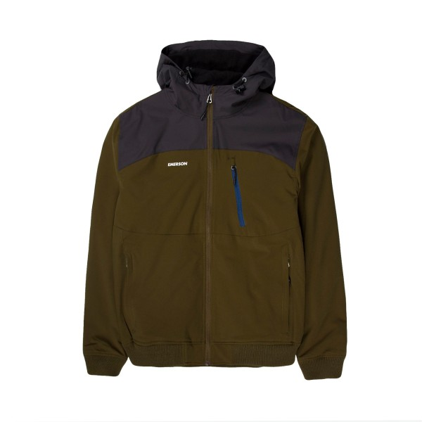 Emerson Ribbed Hooded Jacket Olive - Ebony