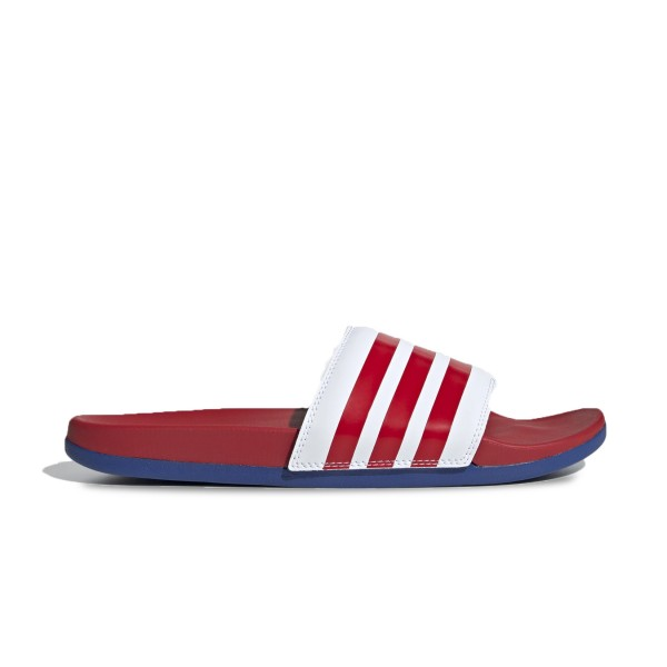 Unisex Slides Adidas Adilette Cloudfoam Plus Stripe Red - Blue