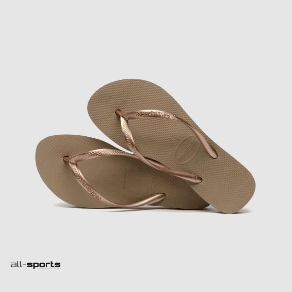 Havaianas Slim Flatform Μπεζ - Χρυσο