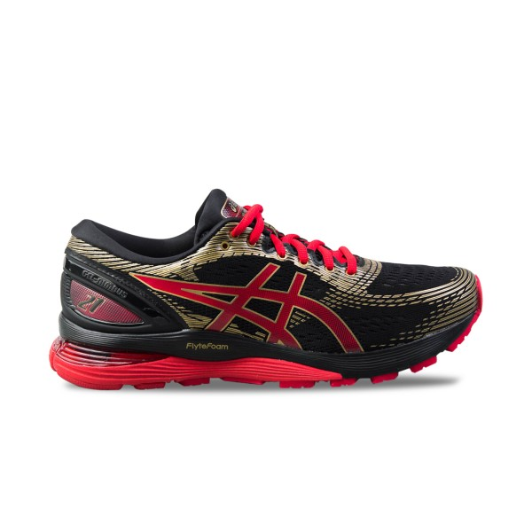 Asics Gel Nimbus 21 Black - Royal Red - Gold