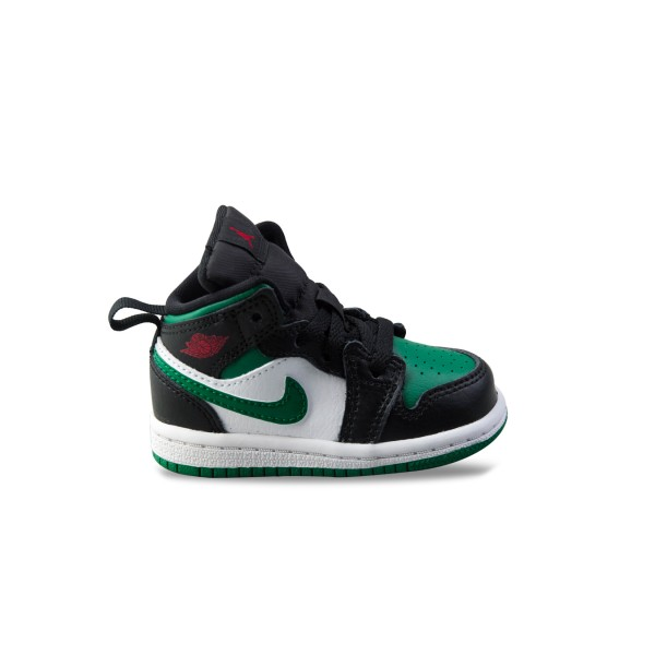 Jordan 1 Mid Black - White -  Green