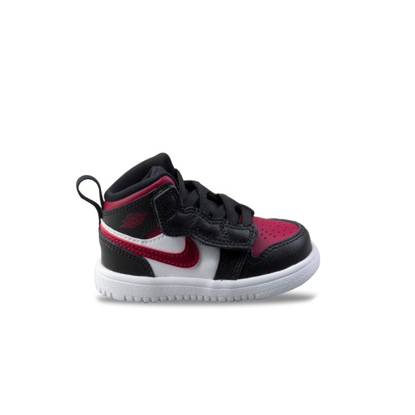 Jordan 1 Mid Black - Noble Red