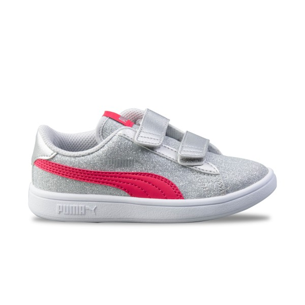 Puma Smash V2 Glitz K Silver - Pink