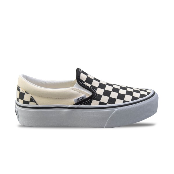Vans Classic Slip-On Checkerboard Platform Black - Beige