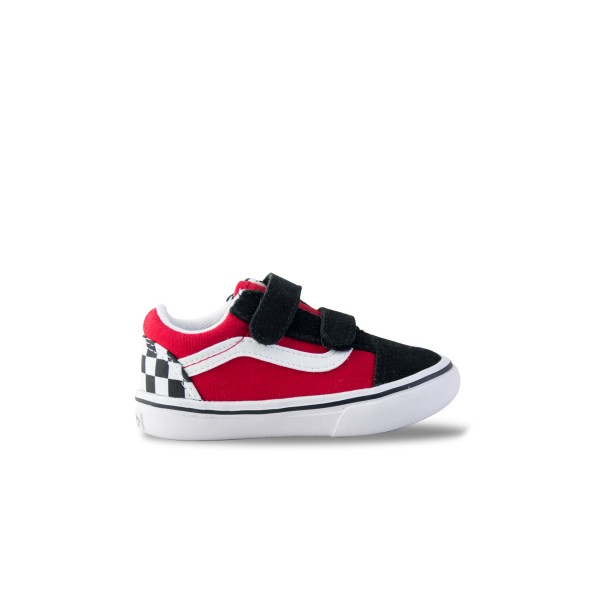 Vans Old Skool Comfycush Checkerboard Toddler Black- Red