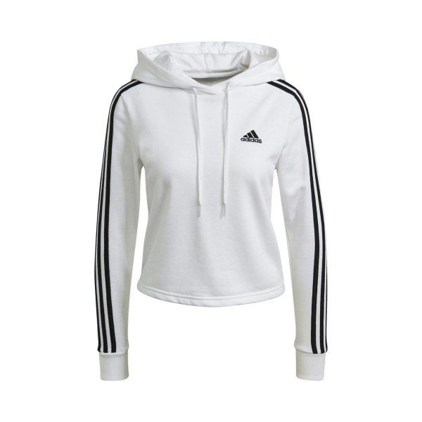 Adidas Essentials 3 Stripes Cropped Γυναικειο Φουτερ Λευκο
