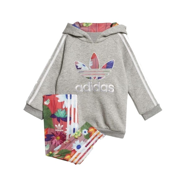 Adidas Originals Graphic Hoodie Suit Grey - Flowers