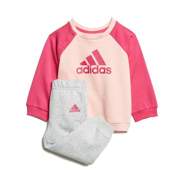 Adidas Logo Jogger Tracksuit Grey - Pink
