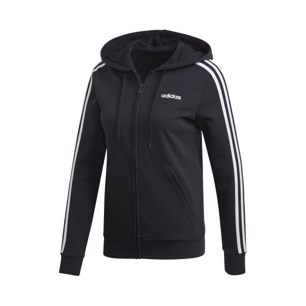 Adidas Essentials 3-Stripes Full Zip Hoodie Black