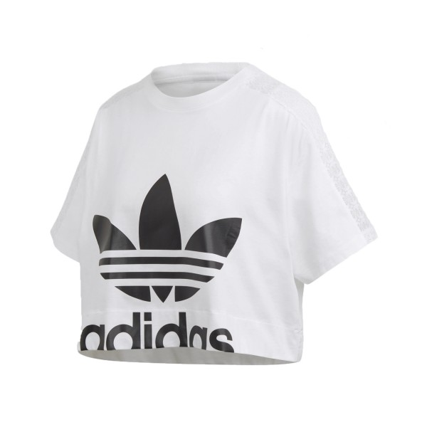 Adidas Originals Lace Tee Crop T-Shirt White -  Black