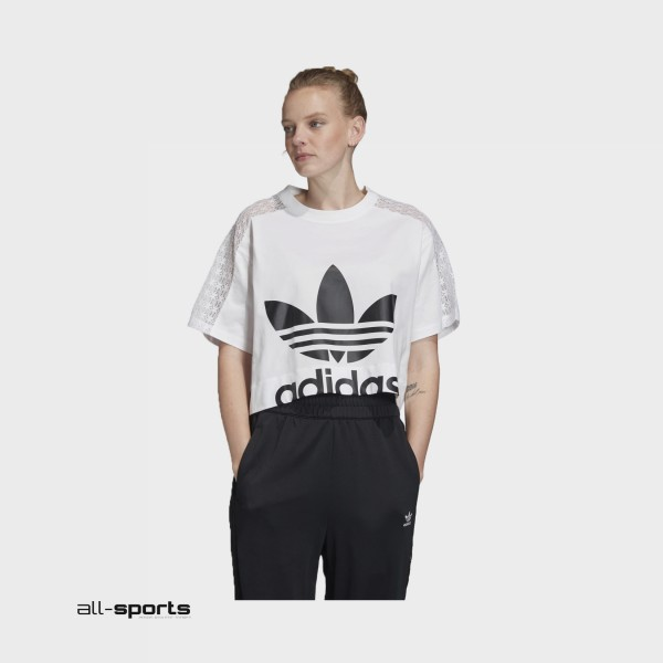 Adidas Originals Lace Tee Crop T-Shirt White -  Black