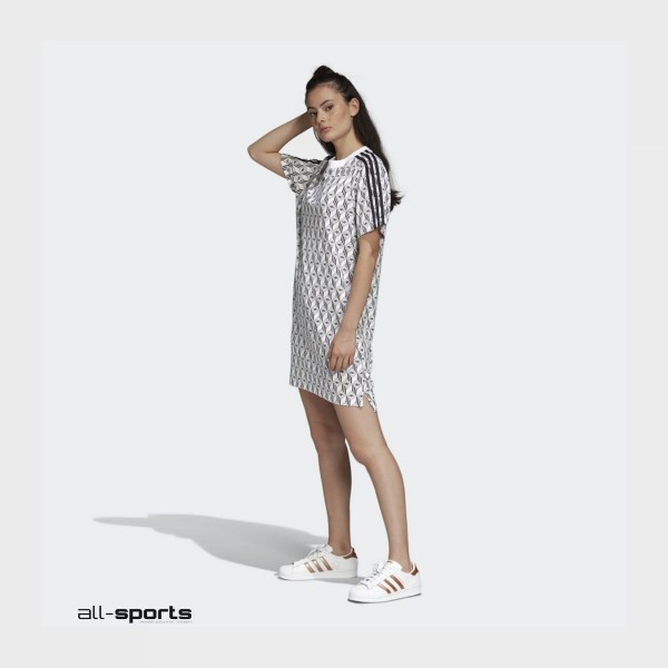 Adidas Originals Tee Dress White - Black