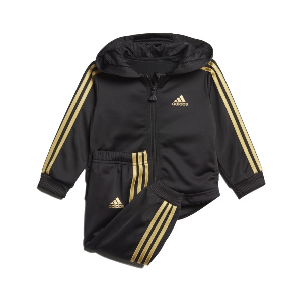 Adidas Shiny Full Zip Hooded Jogger Black - Gold