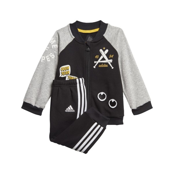 Adidas Collegiate Boy's Tracksuit Grey - Black