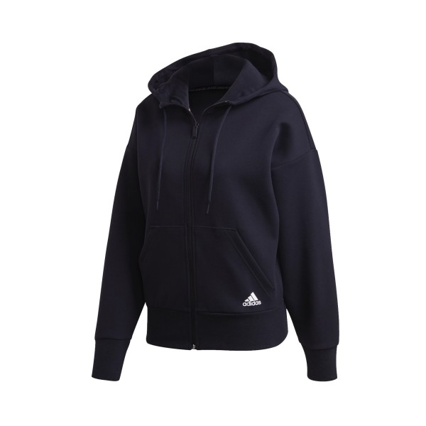 Adidas Essentials 3-Stripes Doubleknit Full-Zip Scuba Hoodie Black