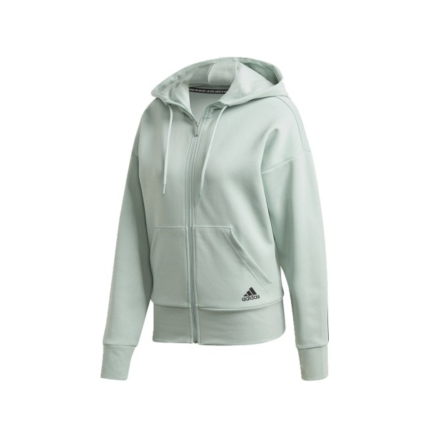 Adidas Essentials 3-Stripes Doubleknit Full-Zip Scuba Hoodie Green Tint