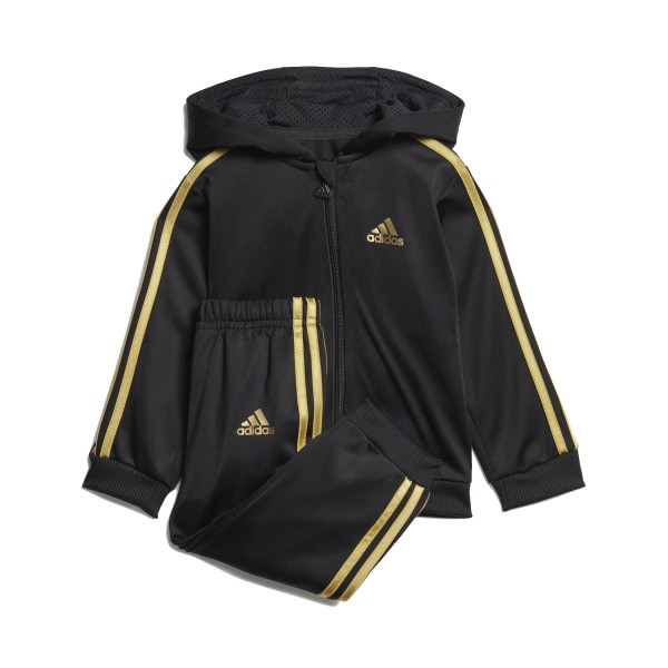 Adidas Shiny Hooded Track Suit Black