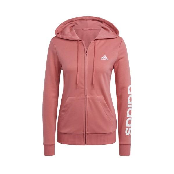 Adidas Essential Logo Full Zip Hoodie Pink