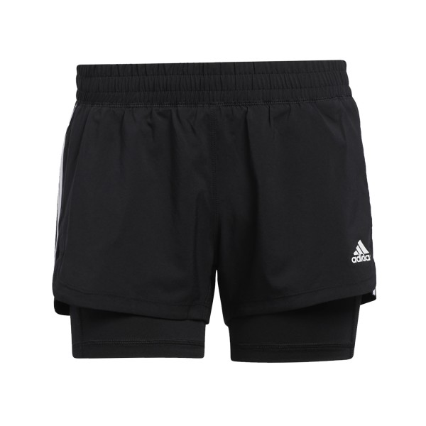 Adidas Pacer 3 Stripes Woven Two In One Short Black