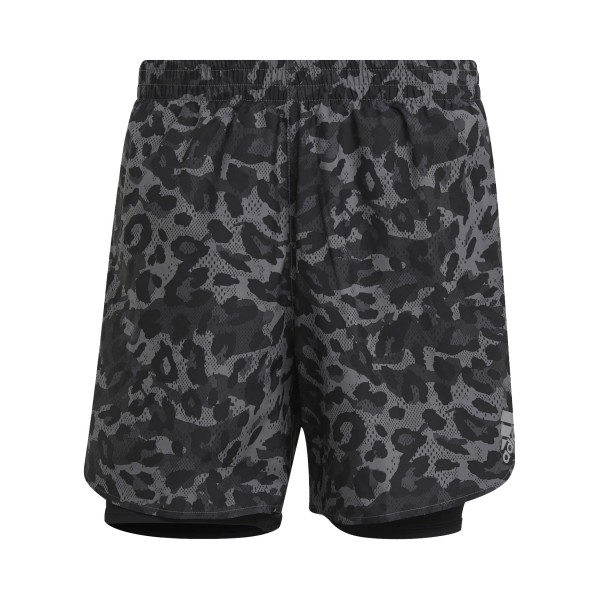 Adidas Fast Two In One Primblue Graphic Shorts Camo