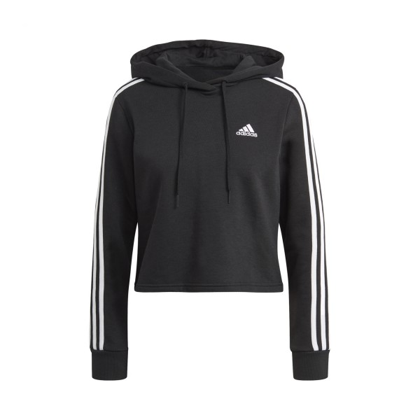 Adidas Essentials 3-Stripes Cropped Hoodie Black