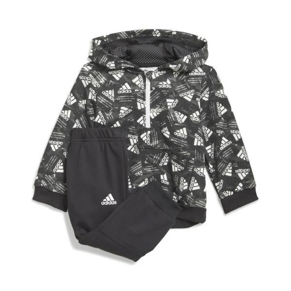 Adidas Badget Of Sport Allover Print Jogger Set Grey - Black