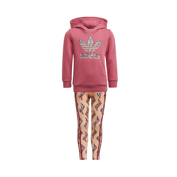 Adidas Originals Graphic Print Hoodie Set Pink - Multicolor