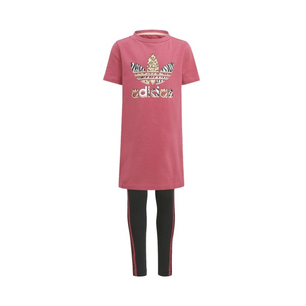 Adidas Originals Graphic Print Dress  Set Pink - Black