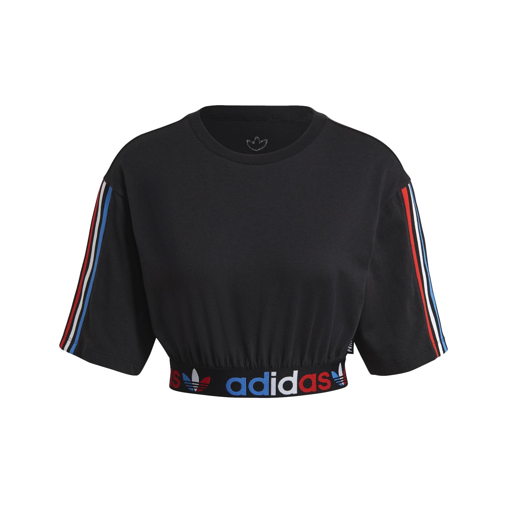 Adidas Originals Adicolor Primeblue Tricolor Cropped Tee Black