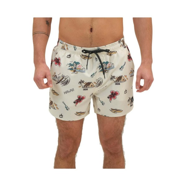 Emerson Tropical Print Volley Shorts 14'' Beige