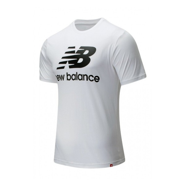 New Balance Essential Stacked Logo Tee White