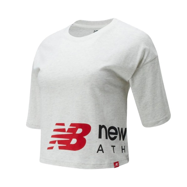 New Balance Essential Icon Graphic Boxy Crop Light Grey