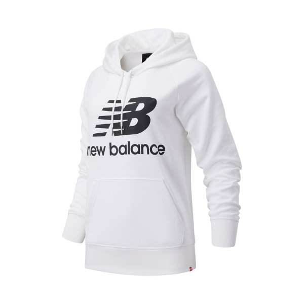 New Balance Essentials Stacked Logo Pullover Hoodie White