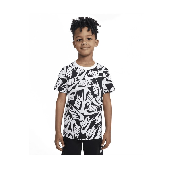 Nike Sportswear Swoosh Print Kids Tee Μαυρο - Λευκο