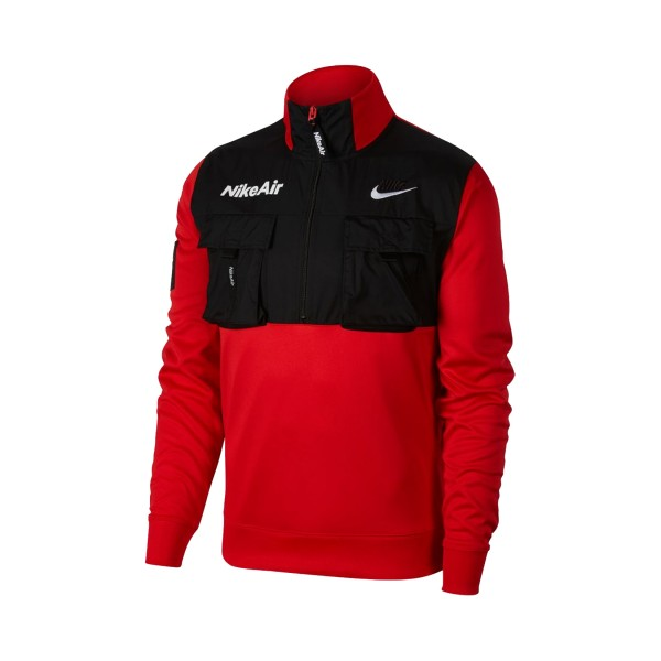 Nike Sportswear Air Half Zip Sweatshirt Red - Black