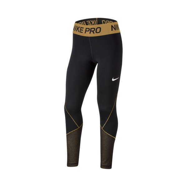 Nike Pro Warm Tight Big Girls Black - Gold