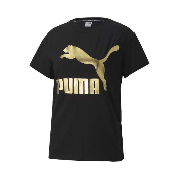 Puma Classic Logo Tee Black - Gold