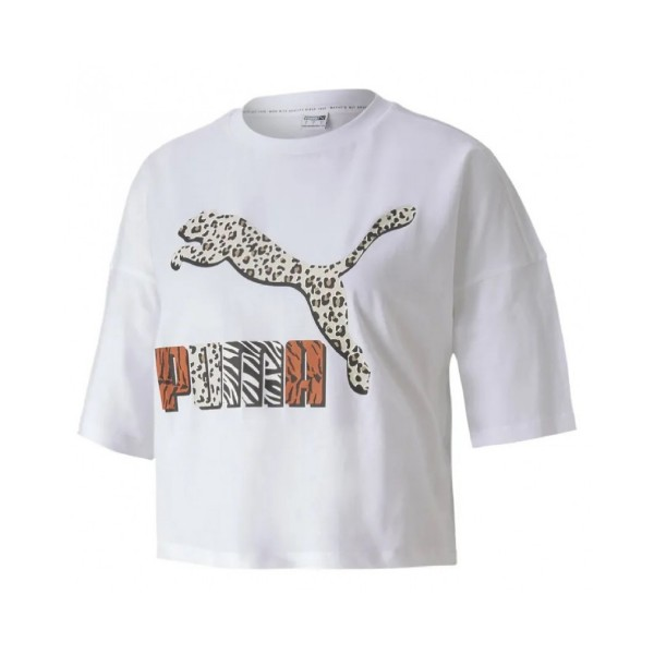 Puma Classic Loose Fit Tee Animal White