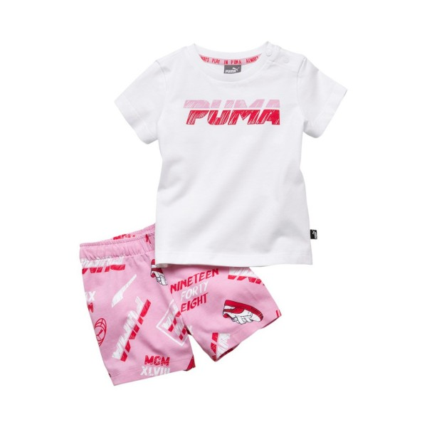 Puma Minicars Girl Set White - Pink