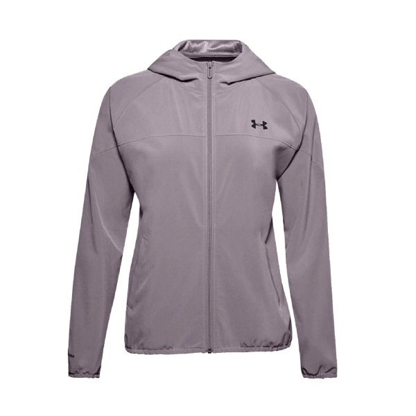 Under Armour Woven Branded Full Zip Hoodie Lilac